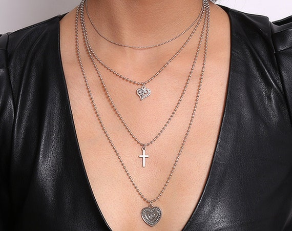 Multi-layer Gold Silver Tone Embossed Heart & Cross Pendant Choker Necklace