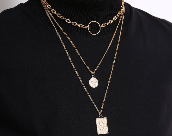 Multi-layer Gold Silver Tone Halo & Embossed Disk pendant Choker Necklace