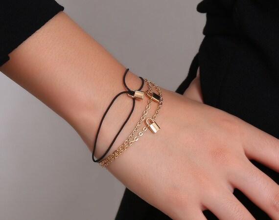 Dainty Curb Link Chain Lock Pendant Bracelet Set