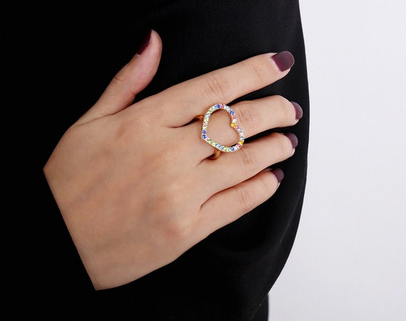 Minimalist Rhinestone Inlaid Heart Shape Ring