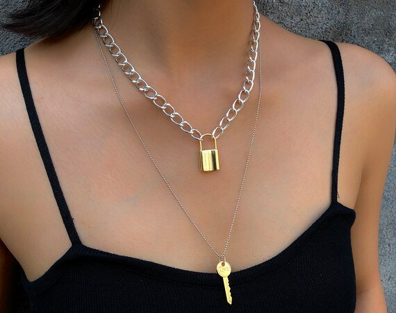Mix Color Lock and Key Pendant Choker Necklace - Statement Metal Chain Charm Necklace