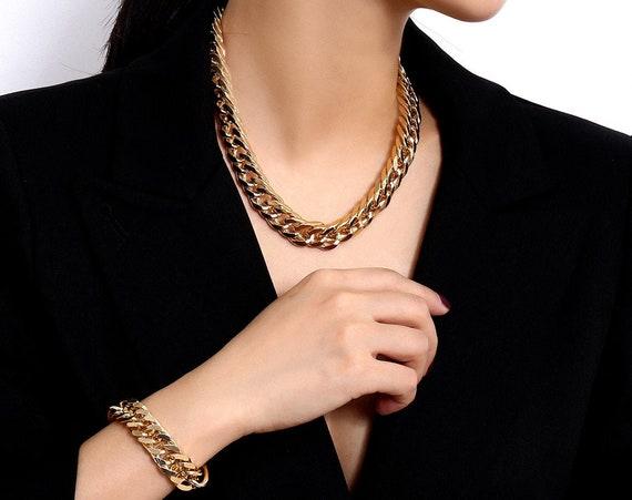 Trendy Gold Tone Curb Link Chain Fashion Jewelry Set