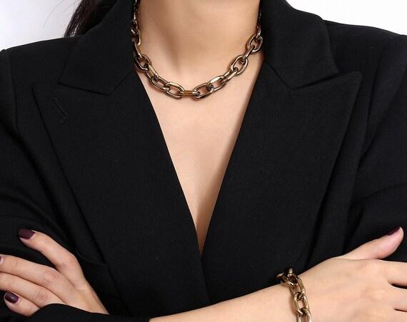 Retro Temperament Curb Link Chain Fashion Jewelry Set
