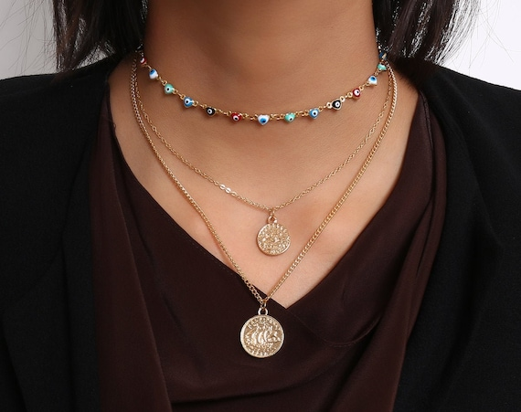 Multi-layer Gold Tone Beaded Evil Eye Relief Coin Pendant Choker Necklace