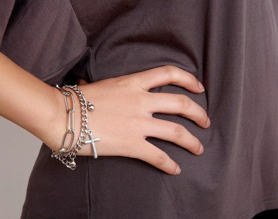 Chic Layered Silver Tone Cross & Charm Pendant Bracelet