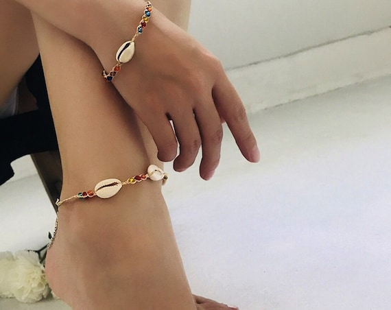 2019 Beach Shell 2 In 1 Anklet Bracelet Set - Boho Foot Anklet Bracelets Set -  Beaded Crystal Cowry Jewelry Set