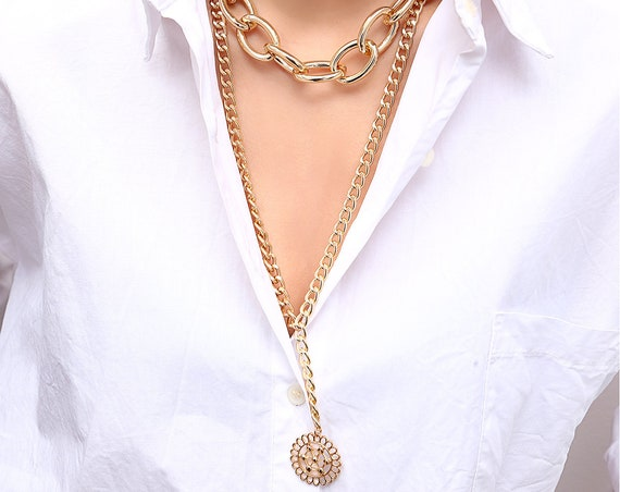 Multi-Layer Gold Silver Tone Hollow Round Disk Pendant Long Chain Choker Necklace