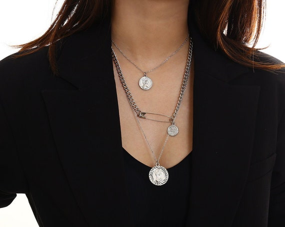 Multi-layer Silver Tone Relief Round Metal Disk Pendant Choker Necklace