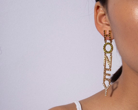 Oversize Colorful Crystal Inlaid HONEY Letter Dangle Earrings