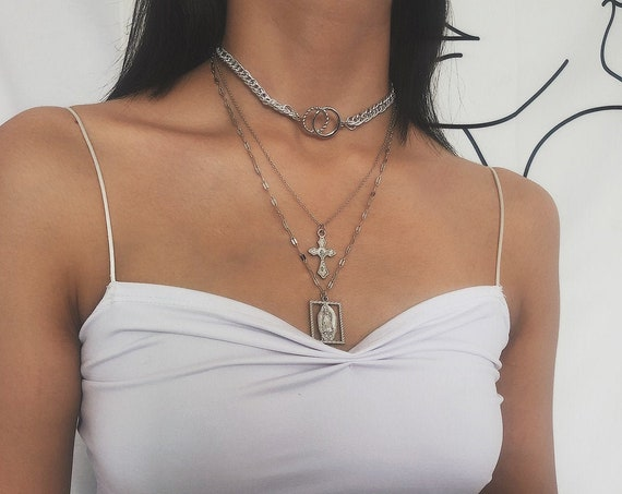 Multi-layer Gold Silver Tone Cross pendant Choker Necklace - Layered Collar Statement Religious Pendant Necklace