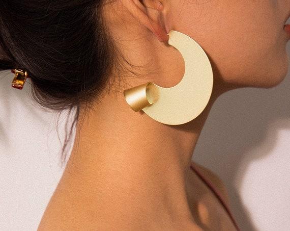 Geometric Oversize Gold Silver Tone Abstract Pattern Hoop Earrings