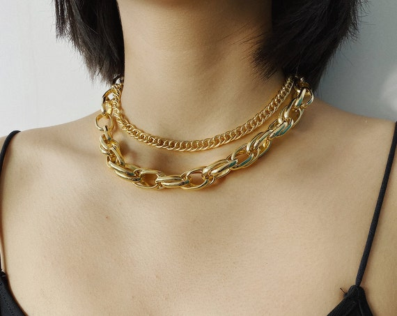 Chunky Gold Tone Layered Curb Link Chain Choker Necklace