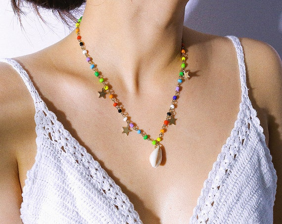 Bohemian Shell Pendant Beaded Chain Star Necklace - Vintage Shell Pendant Choker Necklace - Boho Jewelry for Women and Girls