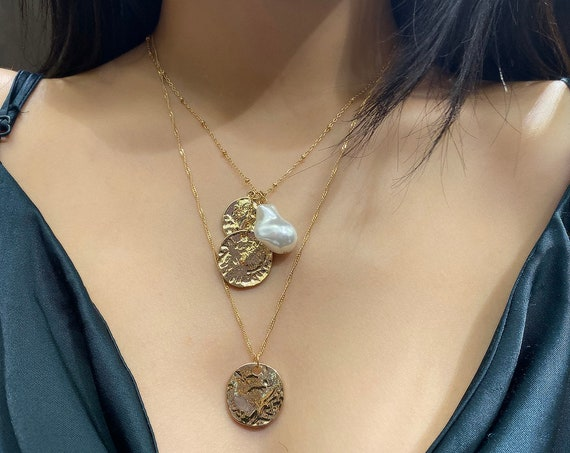 Bohemian Layered Pearl Pendant Necklace - Boho Gold Silver Tone Round Disk Pendant Necklace - Vintage Embossed Metal Charm Necklace