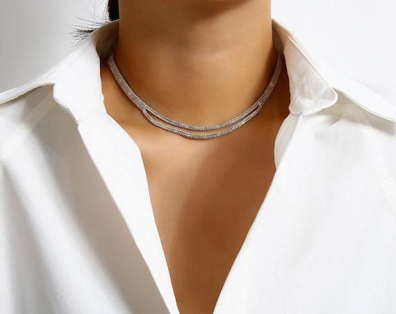 Minimalist Dainty Layered Metal Chain Choker Necklace