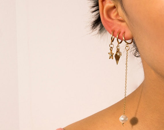 6 Pieces Celestial Gold Silver Tone Star Pearl Charm Dangle Hoop Earrings Set