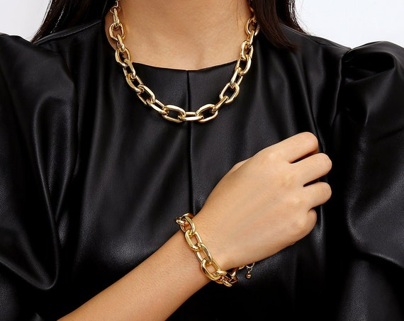 Bohemian Gold Silver Tone Curb Link Chain Fashion Jewelry Set