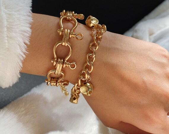 2-in-1 Keyring Chain & Skull Charm Bracelet Set