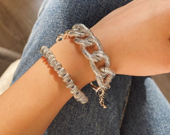 2-in-1 Curb Link Chain & Beaded Chain Bracelet Set