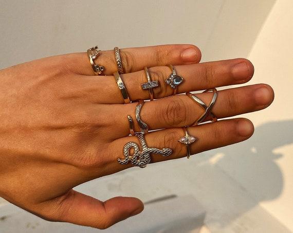 Bohemian 9 Pieces Ring Set