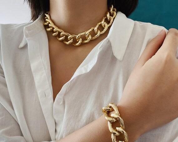 Chunky Gold Tone Curb Link Chain Choker Necklace & Bracelet Set