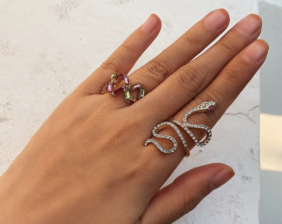 Bohemian 3 Pieces Crystal Inlaid Ring Set