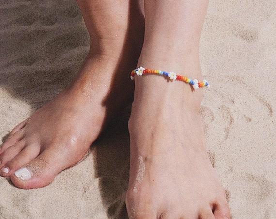 Boho Daisy Flower Beaded Chain Anklet