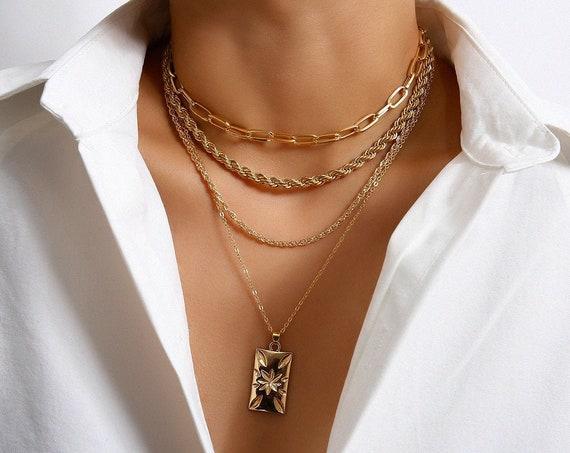 Boho Gold Silver Tone Layered Metal Charm Pendant Choker Necklace