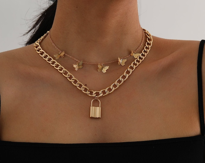 Featured listing image: Bohemia Layered Gold Silver Tone Lock and Butterfly Charm Pendant Choker Necklace Set