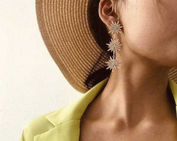 Celestial Rhinestone Inlaid Oversize Polar Star Dangle Earrings