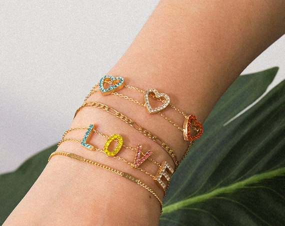 4 Pcs multicolor Crystal Inlaid Hollow Hearts and LOVE letters Bracelet Sets