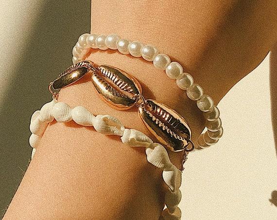 3 Pcs Boho Elastic Beaded Pearl Shell Cowry Bracelet Sets