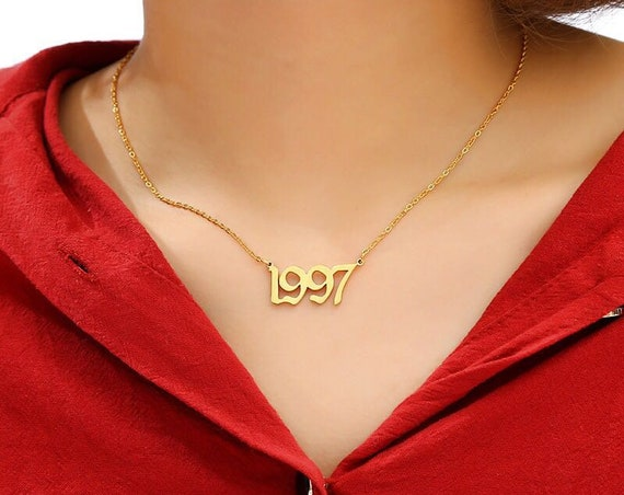 Gothic 1991-2000 Birth Year Long Chain Necklace - Dainty Gold Silver Tone Birth Year Necklace - Stainless Steel Initial Pendant Necklace