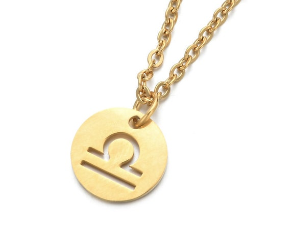 Stainless Steel Gold Silver Tone Constellation Initial Necklace - Zodiac Astrology Hollow Disc Pendant Necklace