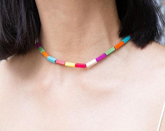 Bohemian Multi-color Natural Stone Choker Necklace