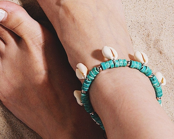 Cowrie Shell Wood Beaded Chain Tassel Anklet
