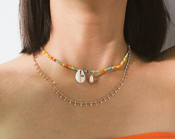 Bohemian Layered Shell Pearl Pendant Beaded Chain Choker Necklace
