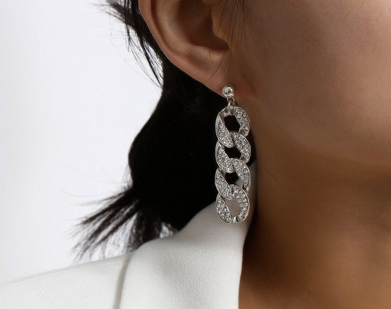 Geometric Gold Silver Tone CZ Paved Link Chain Dangle Earrings