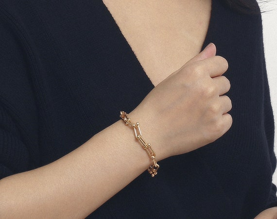 Dainty Gold Silver Tone Curb Link Chain Bracelet