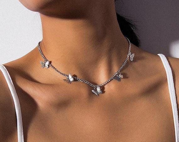 Minimalist Gold Silver Tone Butterfly Choker Necklace