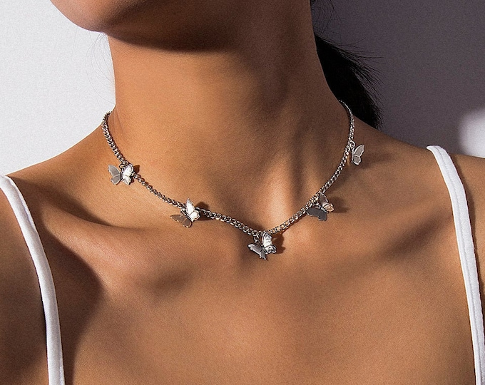 Featured listing image: Minimalist Gold Silver Tone Butterfly Choker Necklace
