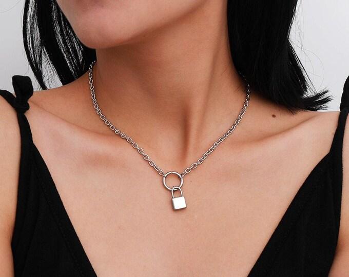 Featured listing image: Stainless Steel Minimalist Lock Pendant Necklace