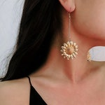 Golden Sunflower Earrings - Feminine Charm Earrings - Flower Dangle Earrings