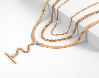 Minimalist Y Necklaces for Women Girls Boho Stick Bar Choker Necklace Multi-layer Bar Pendant Necklaces