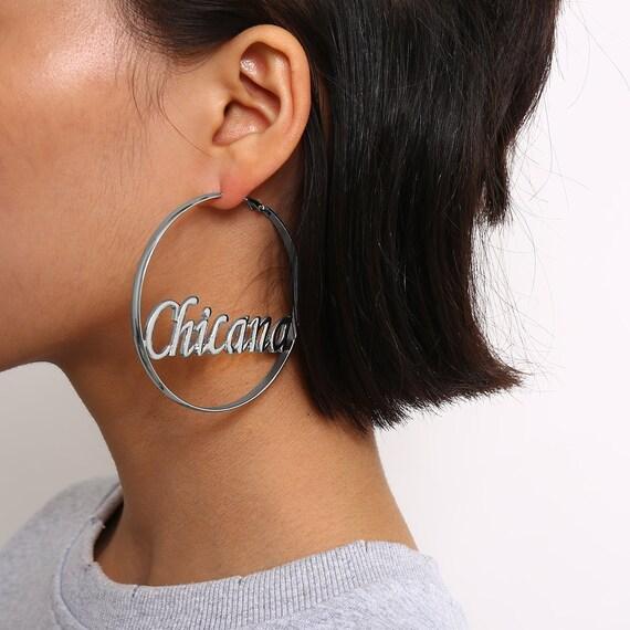 Geometric Gold Silver Tone Big Hoop Earrings -  Minimalist Hollow CHICANA Loop Earrings