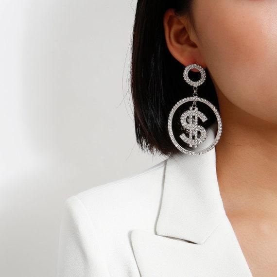 LUX Crystal Inlaid Oversize Dangle Hoop Earrings