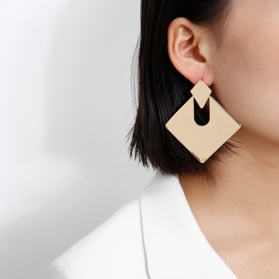 Geometric Oversize Gold Tone Abstract Square Dangle Earrings