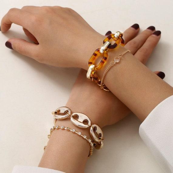 4 Pcs Mixed Element Acrylic Crystal and Metal Bracelet Set