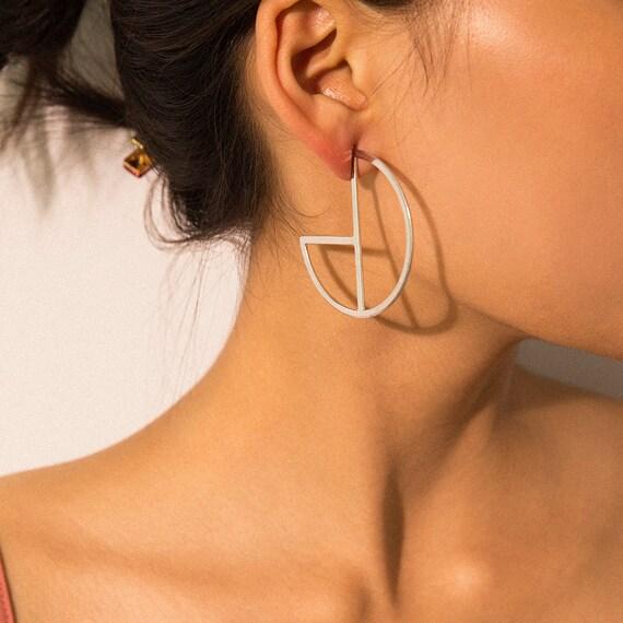 Geometric Gold Silver Tone Oversize Statement Hoop Earrings