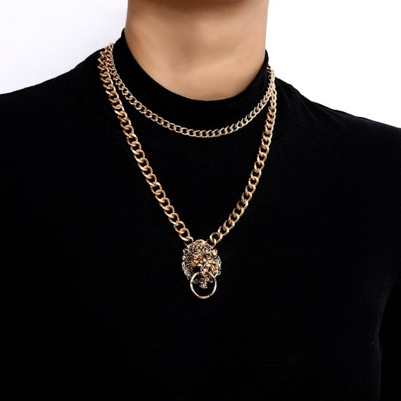 Punk TIGER Pendant Choker Necklace - Multi-layer Charm Pendant Necklaces - Layered Metal Chain Necklace